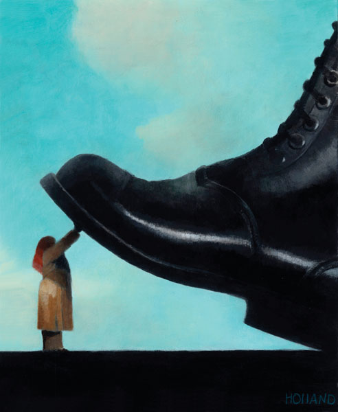 Woman being stepped on by giant boot